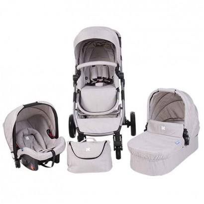 Kikka Boo carucior combinat UGO 3 in 1 Light Grey Melange