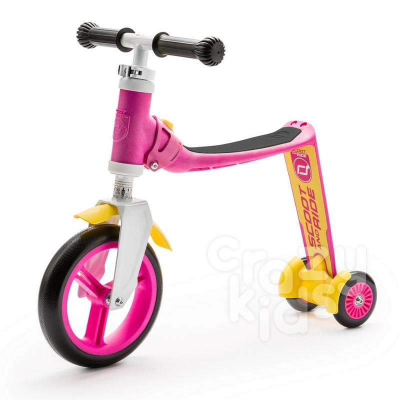 Trotineta copii Scoot and Ride Highwaybaby 2 in 1 scooter si bicicleta pentru balans roz-galbena
