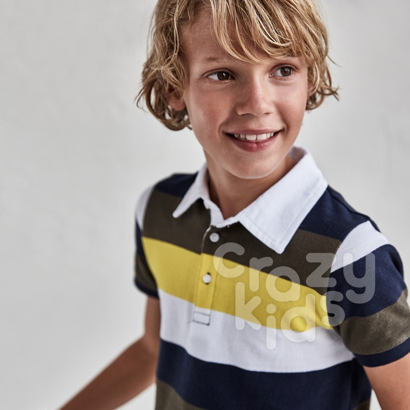 Tricou polo in dungi Mayoral copii